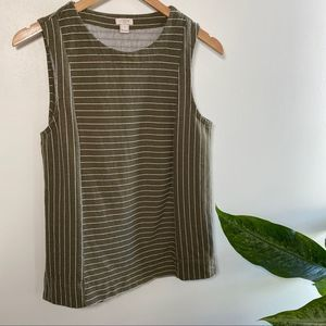 J. Crew olive stripe casual cotton tank